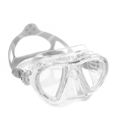 Masque Cressi Nano Crystal en silicone transparent pour la plongée et l'apnée. En bleu, jaune, rose, lilas, blanc & noir