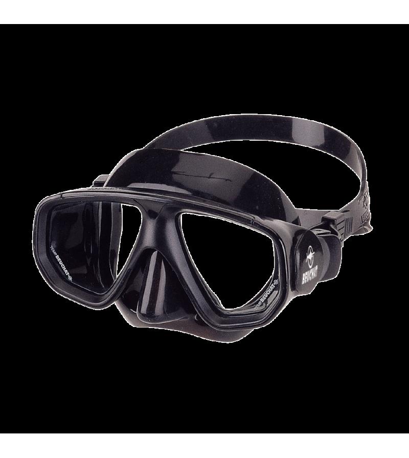 Masque deux verres à petit volume Beuchat Strato avec jupe en caoutchouc noir pour débuter l'apnée et la chasse sous-marine