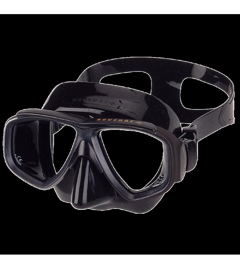 Masque deux verres à petit volume Beuchat Mundial avec jupe en silicone noir pour l'apnée & la chasse sous-marine