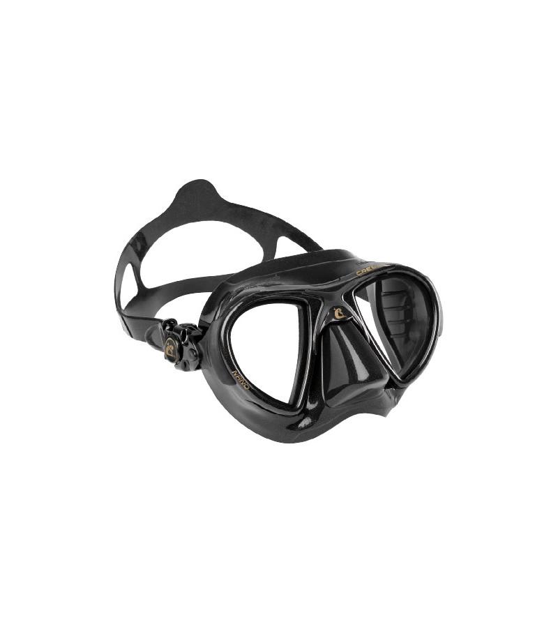 Masque Cressi Nano Black avec jupe en silicone pour la chasse sous-marine et l'apnée. En noir, marron brun et vert kaki
