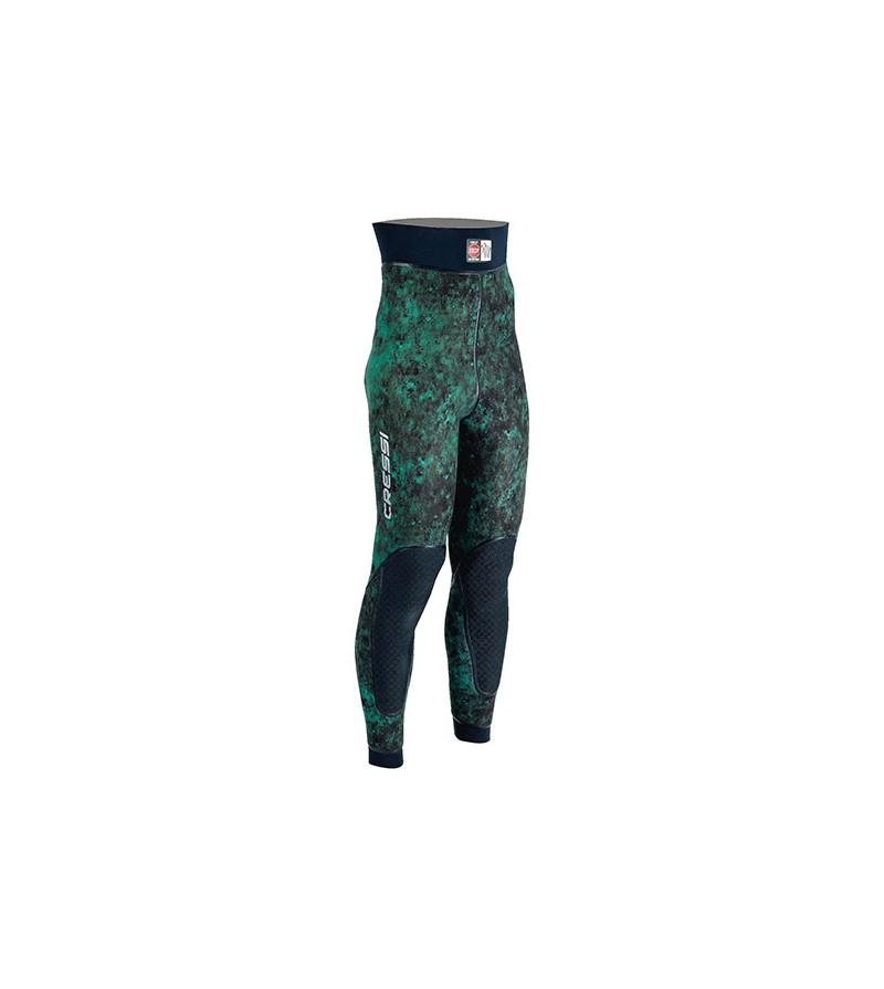 Pantalon de combinaison Cressi Scarfano en néoprène 7mm pour la chasse sous-marine & l'apnée - Camouflage vert mimetic