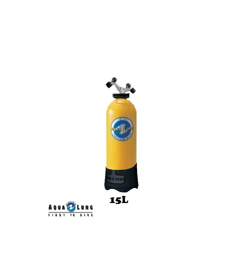 Bouteille de plongée monobloc 15 litres - 2 sorties TAG + filet + poignée - occasion - révisé et garanti 1 an