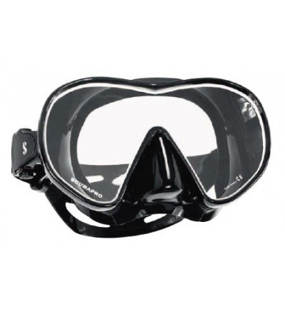 Masque de plongée monoverre à volume réduit Scubapro Solo sans cerclage avec jupe en silicone noir et liseret blanc