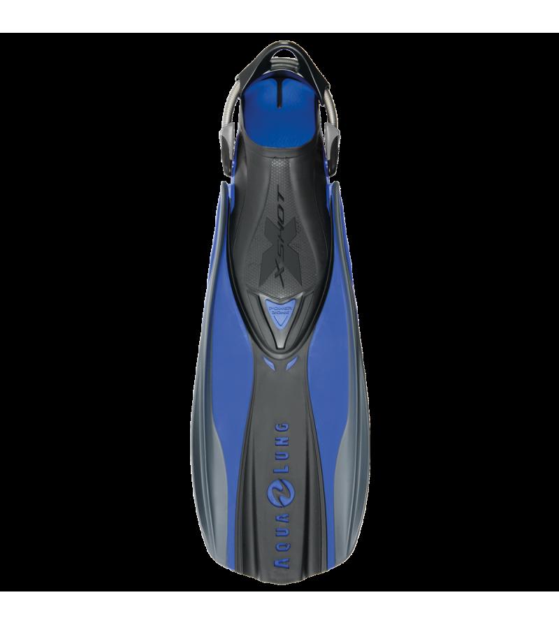 Palmes réglables de plongée Aqua Lung X Shot avec sangle à ressort et voilure élastomère pour un palmage efficace - bleu