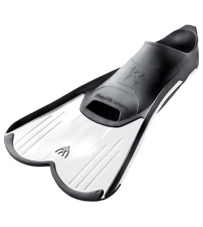Palmes de natation chaussantes & courtes pour l'entrainement ou le snorkeling - blanc