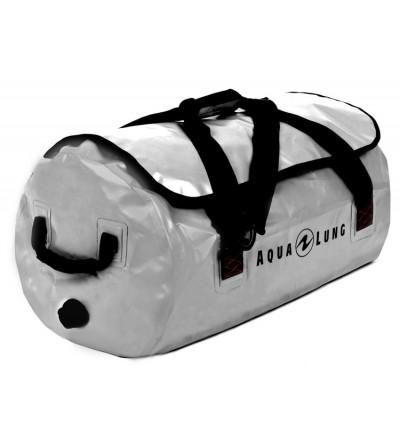 Sac étanche Aqua Lung Defense 85 litres en tarpaulin gris avec purge de vidange et poignées de portage