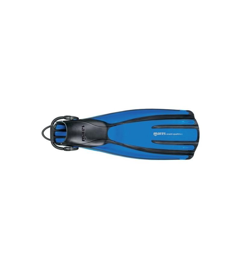 Palmes réglables de plongée Mares Avanti Quattro + avec sangles élastiques, stabilisateurs et chausson anatomique - bleu
