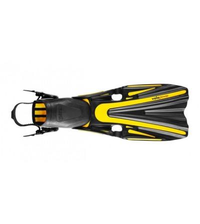 Palmes réglables de plongée Mares Volo Power avec système de sangle ABS Plus - Noir/jaune