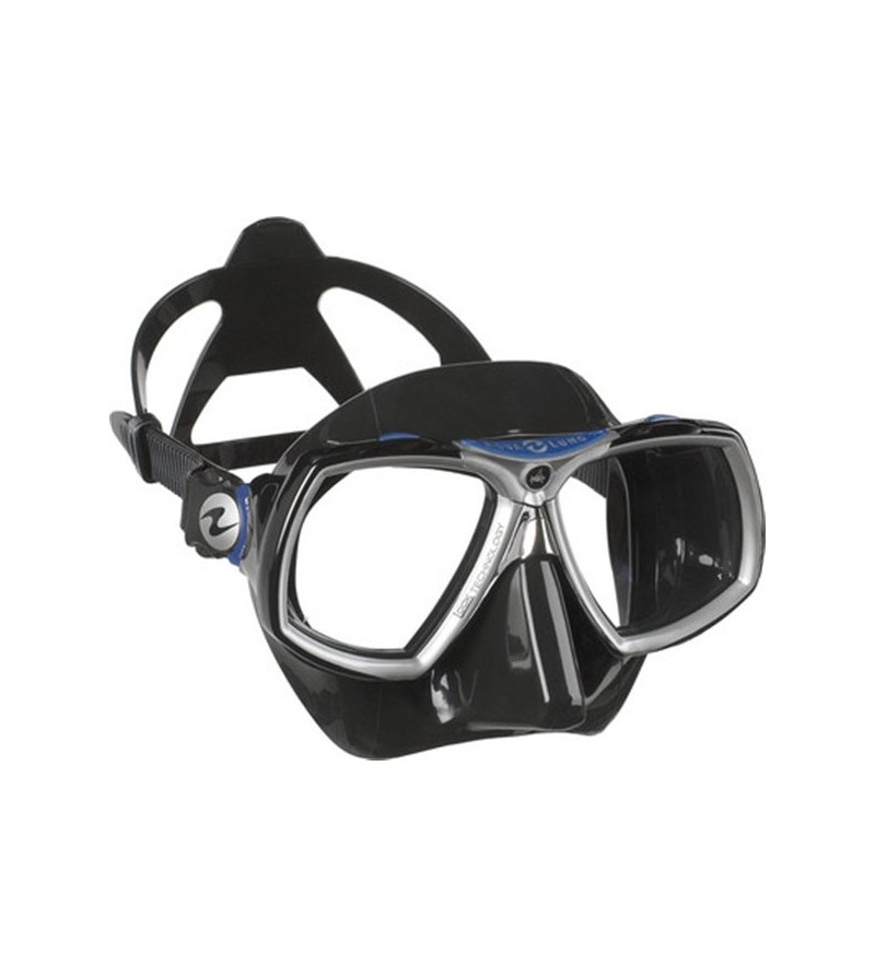 Masque deux verres Aqualung Look 2 avec jupe en silicone noir - Cerclage bleu