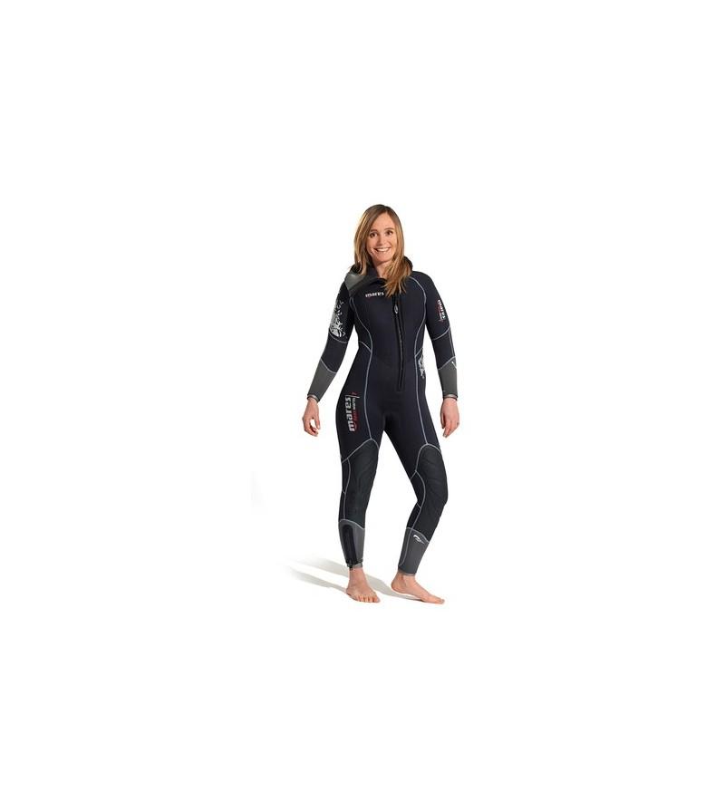 Combinaison monopièce de plongée humide avec cagoule attenante Mares Flexa Warm She Dives épaisseur 7mm modèle femme