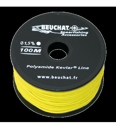 Bobine 100 mètres de fil jaune pour moulinet et arbalète de Chasse sous-marine Beuchat Nylon Kevlar Diamètre 1.5mm