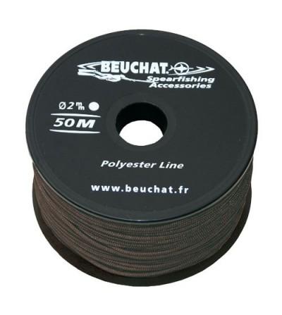 Bobine 50 mètres de fil noir pour moulinet et arbalète de Chasse sous-marine Beuchat Polyester Diamètre 2mm