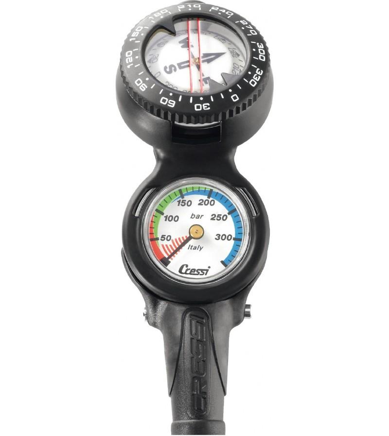 Console Cressi 2 instruments équipée d'une boussole-compas et d'un minimanomètre 350 bar