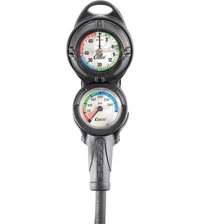 Console Cressi 2 instruments équipée d'un profondimètre et d'un minimanomètre 350 bar
