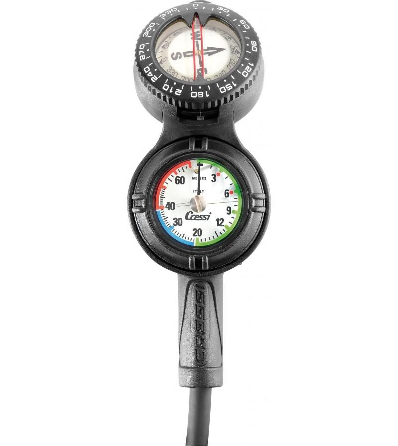 Console Cressi 3 instruments équipée d'une boussole-compas, d'un profondimètre et d'un minimanomètre 350 bar