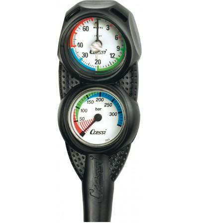 Console Cressi 2 instruments aux dimensions réduites équipée d'un profondimètre et d'un minimanomètre 350 bar