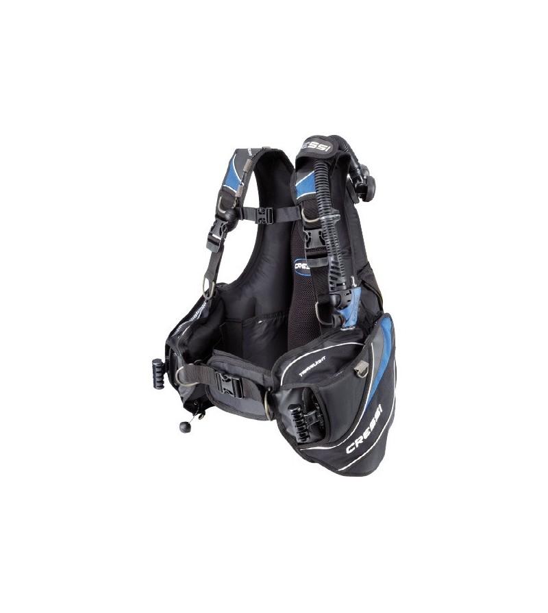 Gilet Stabilisateur réglable Cressi Travelight Bleu - idéal pour voyage plongée - modèle Homme