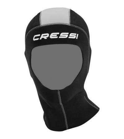 Cagoule de plongée Cressi en néoprène 5mm avec gariture lisse pour combinaison Lontra Plus 7mm et Logica 5mm - Modèle homme