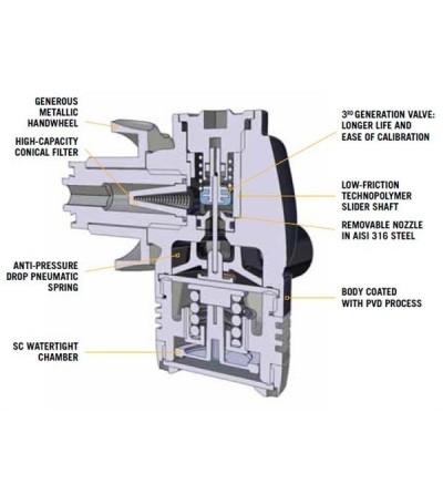 Détendeur de plongée compensé pour eau froide Cressi Master T10-SC Cromo en version DIN 300 bars. Certf EN250/2014