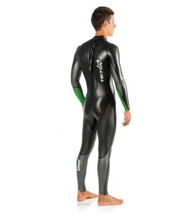 Nouvelle combinaison de nage Cressi Swim Triton 1.5mm avec insert haute visibilité vert fluo. Modèle homme 2016