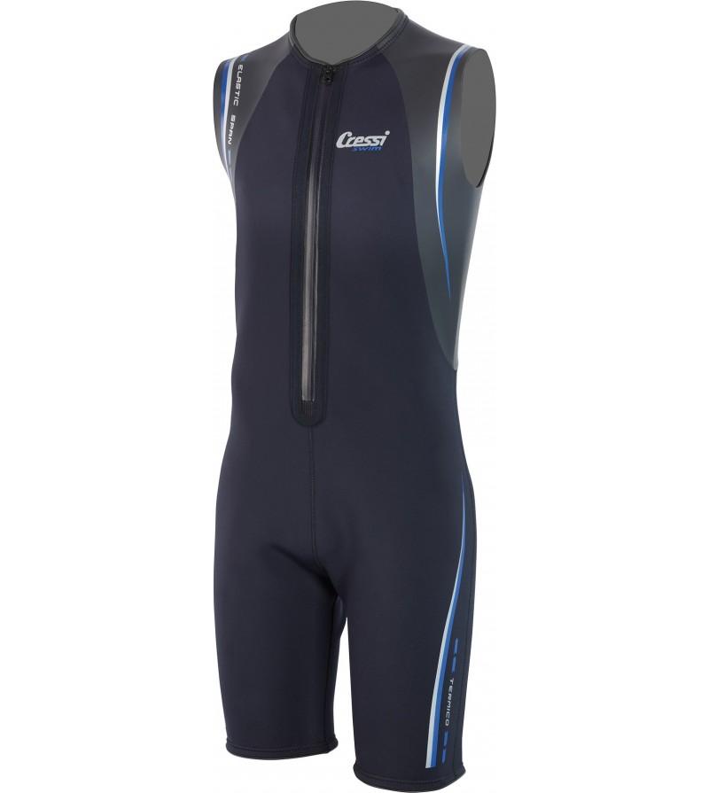 Combinaison shorty de nage Cressi Swim Termico Man en néoprène Ultraspan 2mm. Couleur Noir. Modèle homme