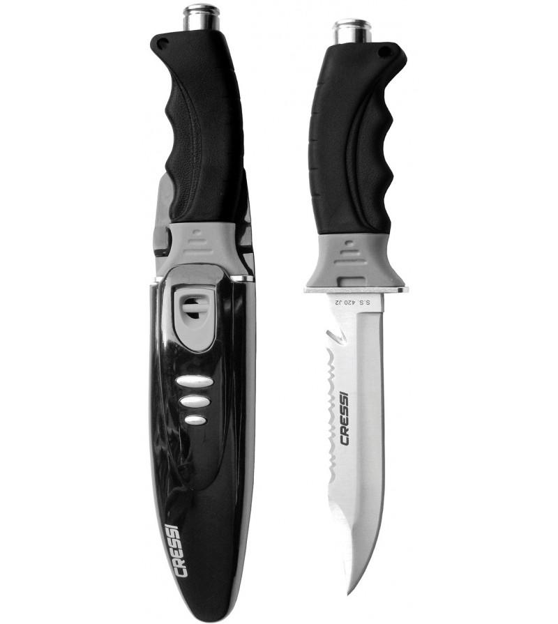 Couteau moyen Cressi Borg avec lame en acier inoxydable japonais pour la plongée et la chasse sous-marine. Design avant-gardiste