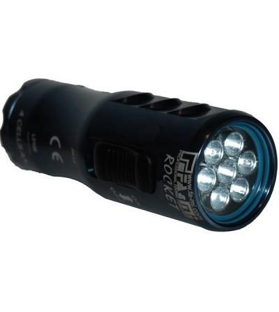 Phare à LED de plongée à piles FA&MI Rocket 60 en aluminium anodisé étanche à 200 mètres. Livré avec piles et sacoche