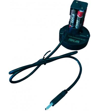 Socle chargeur FA&MI de bureau USB et bloc de 4 accu Ni-Mh AA 1.2V 2500mAh pour lampes et phares FA&MI compatibles