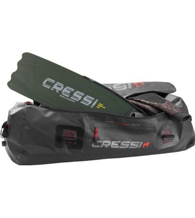 Grand sac étanche de 135 litres en PVC noir Cressi Gorilla Pro 2016 pour la plongée, l'apnée, la nage et la chasse sous-marine.