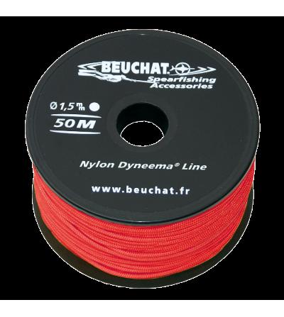 Bobine 50 mètres de fil nylon 1.5mm Beuchat Dyneema rouge pour moulinet et arbalète de Chasse sous-marine