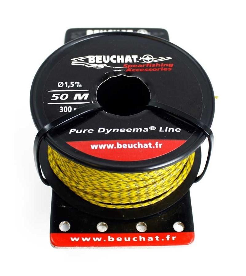 Bobine 50 mètres de fil Tresse 1.5mm Beuchat Dyneema jaune pour moulinet et arbalète de Chasse sous-marine