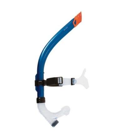 Tuba frontal de nage à soupape Beuchat S+600 sr bleu. Maintien par sangle et flex anatomique. Modèle sénior