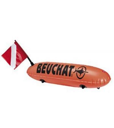 Bouée Longue cylindrique de signalisation Beuchat pour la chasse sous-marine, l'apnée & la nage