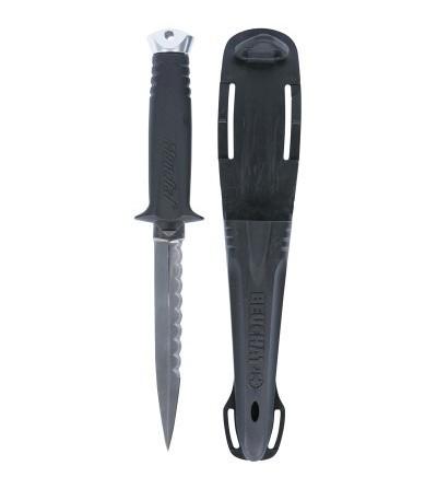 Couteau moyen de chasse sous-marine Beuchat Mundial 2 avec lame démontable en inox type dague de 130mm à double tranchant.