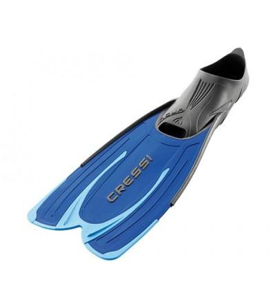Palmes chaussantes Cressi Agua à voilure longue pour le snorkeling et la randonée PMT - bleu