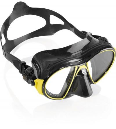 Nouveau Masque Cressi Air Black avec jupe en silicone noir haute qualité & héritier du brevet nano. Jaune, bleu & blanc