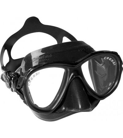 Masque à petit volume Cressi Eyes Evolution Black avec jupe en silicone noir. Noir ou vert camouflage pour la chasse sous-marine