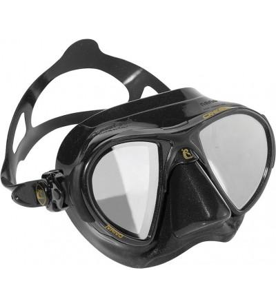 Masque Cressi Nano Black noir avec verres miroir HD et jupe en silicone pour la chasse sous-marine et l'apnée.