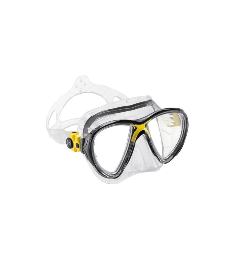 Masque Cressi Big Eyes Evolution en silicone transparent pour la plongée, l'apnée & snorkeling. Rouge, jaune, bleu, rose, noir