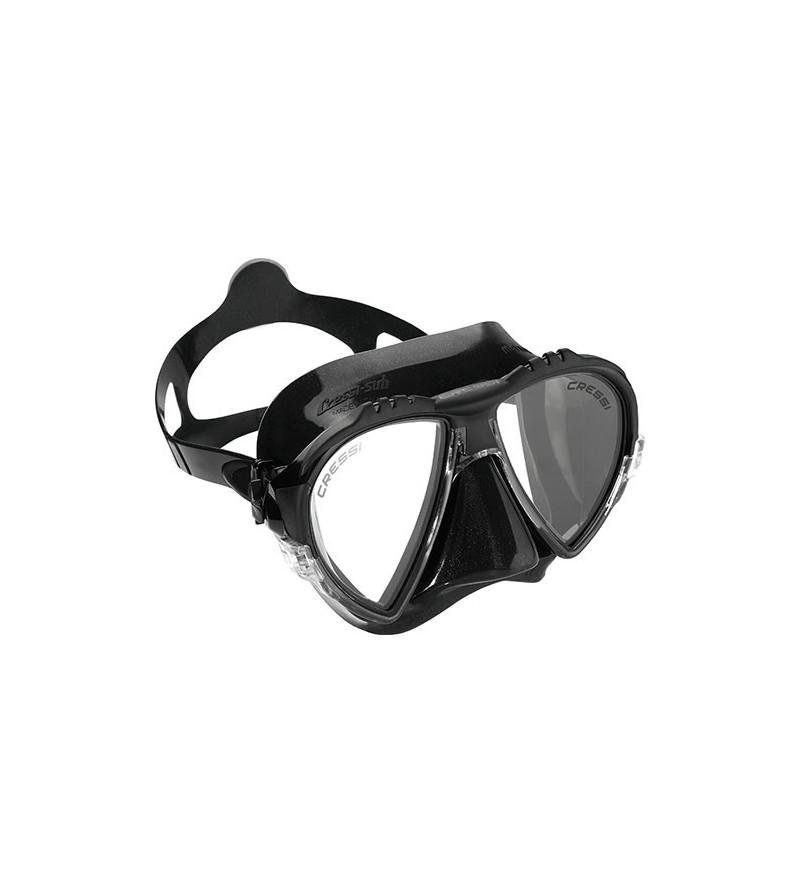 Masque Cressi Matrix en silicone noir haute qualité pour la chasse sous-marine, plongée, apnée & snorkeling.