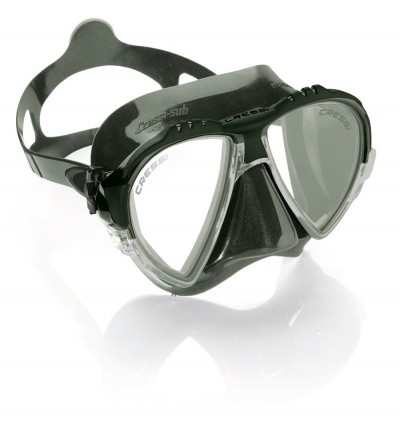 Nouveau Masque Cressi Matrix vert 2016 en silicone kaki pour la chasse sous-marine, plongée, apnée & snorkeling.
