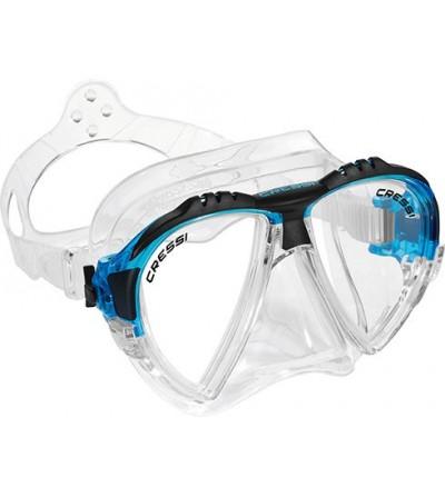 Masque Cressi Matrix en silicone transparent pour la plongée, l'apnée & le snorkeling. En bleu, jaune, noir & aigue-marine