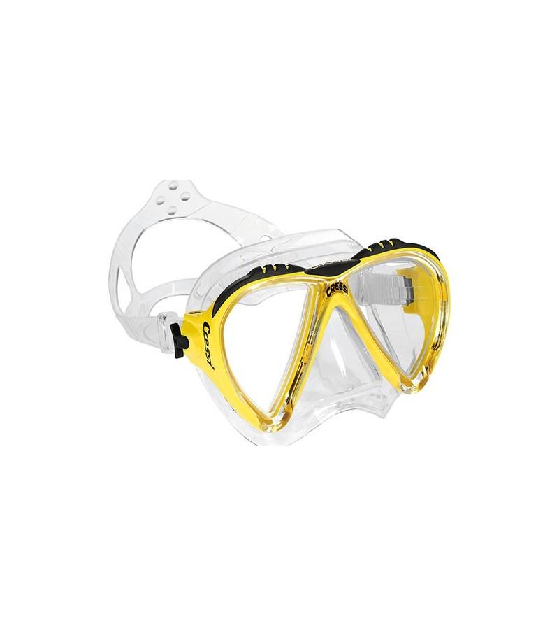 Masque Cressi Lince jaune en silicone transparent pour la plongée, apnée & snorkeling. Pour femme, enfant et petit visage