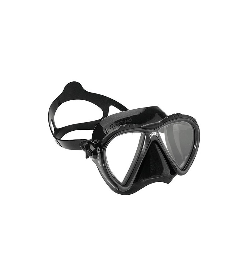 Masque Cressi Lince en silicone noir pour la chasse sous-marine, la plongée, l'apnée & le snorkeling. Pour les petits visages