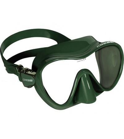 Masque Cressi F1 Dark en silicone sans cerclage pour la chasse, plongée & snorkeling. Gris silver, vert kaki, marron brun & noir