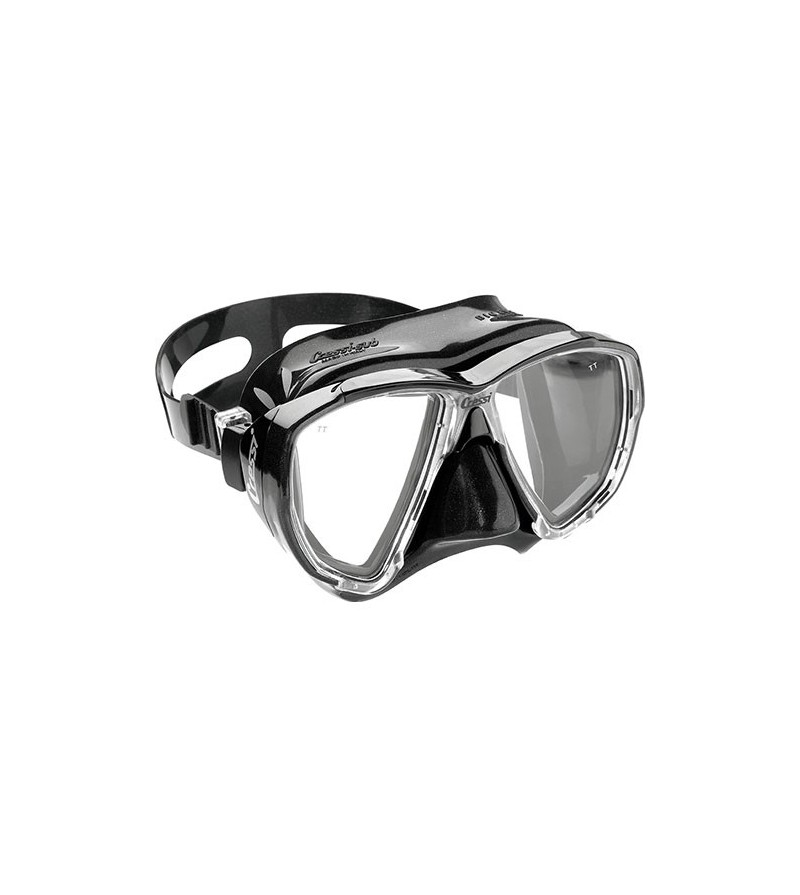 Masque Cressi Big Eyes avec jupe en silicone noir pour la chasse sous-marine, la plongée, l'apnée & le snorkeling