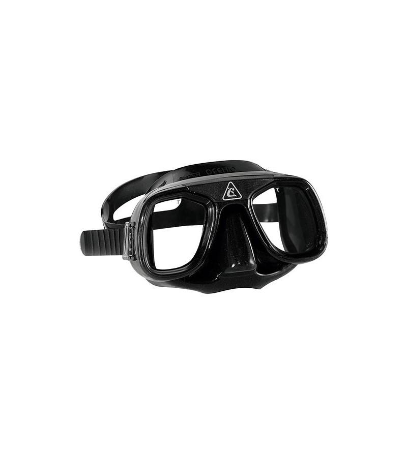 Masque classique au volume minimal Cressi Superocchio avec jupe en silicone Noir pour la chasse sous-marine et l'apnée profonde