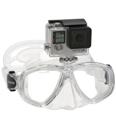 Masque Cressi Action transparent avec support pour caméra Go Pro. Filmer durant la plongée, l'apnée & le snorkeling