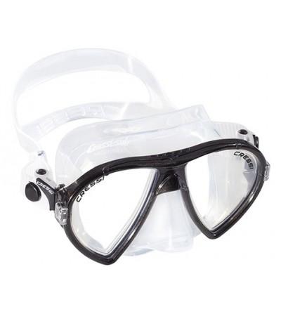 Masque à deux verres inclinés Cressi Ocean en silicone transparent pour la plongée, l'apnée & le snorkeling. Noir