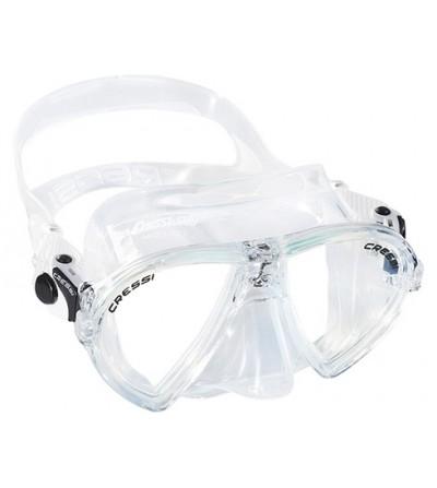 Masque à deux verres inclinés Cressi Ocean en silicone transparent pour la plongée, l'apnée & le snorkeling. Transparent